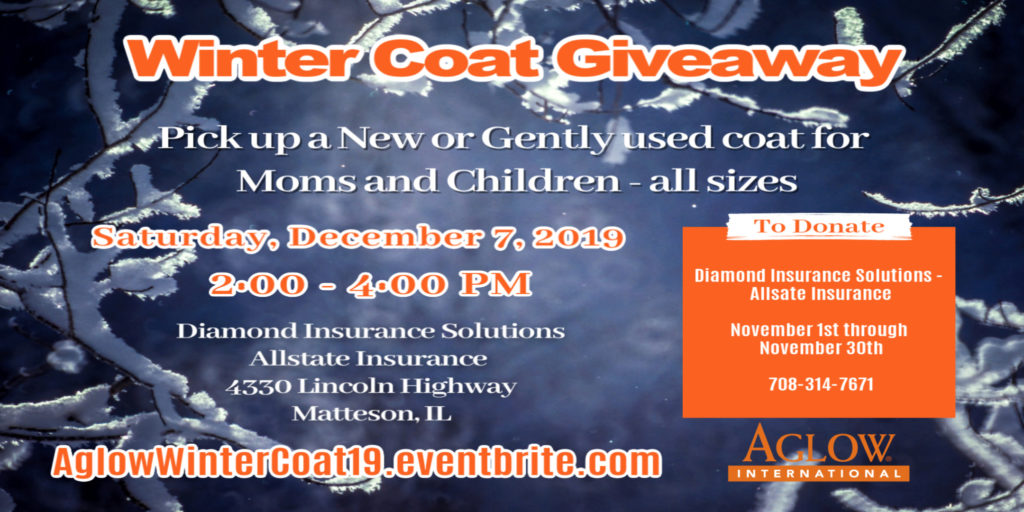 e-flyer of the AGLOW Matteson Single Moms Winter Coat Giveaway for 2019
